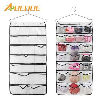 ABEDOE 2 sided 42 Pocket Wall Door hanging organizer Transparent Accessories Hanging Jewellry Home Clothes bags Storage
