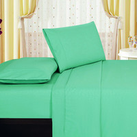 1800 Series Embossed Egyptian Vine Design 4-Piece Sheet Set Queen - Aqua Red