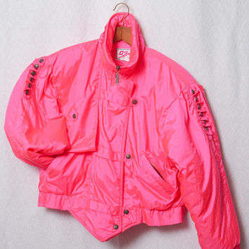 Hot Pink 80s Ski Jacket, Neon Pink Womens 80s Ski Coat, 80s Skiwear, Ladies 80s Ski Party Jacket Costume