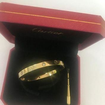 ONETOW Cartier 18k Yellow Gold 4 Diamond Love Band bracelet size 17