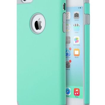 DCCK2JE iPhone 6S Case Mint Green,iPhone 6 Case, ULAK Slim Dual Layer Soft Silicone & Hard Back Cover Bumper Protective Shock-Absorption & Skid-proof Anti-Scratch Hybrid Case-Turquoise/Grey