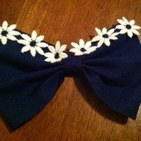 Hand Made Navy Blue Flower Lining Bow