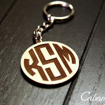 Custom Engraved Wood Initails Monogram Keychain