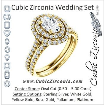 CZ Wedding Set, featuring The Alexandra engagement ring (Customizable Oval Cut Double Halo Center with U-Pave and Pavé  Band)