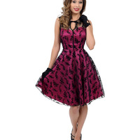 Voodoo Vixen Magenta Floral Flocked Lace Overlay Flaired Cocktail Dress