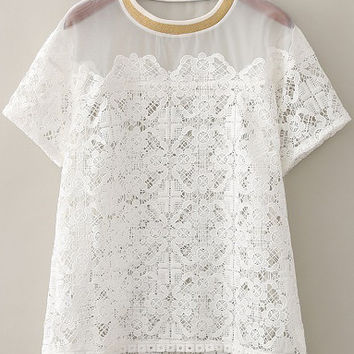 White Sheer Mesh Floral Crochet Blouse with Color Gold Neckline