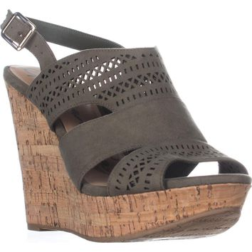 AR35 Mirranda Platform Wedge Sandals, Olive, 8.5 US