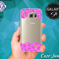 Pink Frosting Sprinkles Rainbow Icing Tumblr Inspired Cute Case for Clear Rubber Samsung Galaxy S6 and Samsung Galaxy S6 Edge Clear Cover