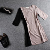 Block V-Neck Sleeve Dress