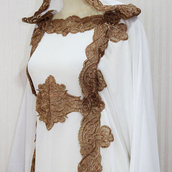 White Hoodie Caftan Dress Dubai Gold Embroidery Petite Sheer Chiffon Wedding Kaftan Maxi Dress
