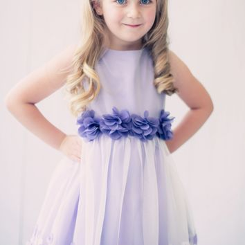 Lavender Satin & Tulle Overlay Dress with Dimensional Taffeta Flowers (Girls 2T - Size 8)
