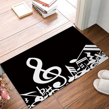 Autumn Fall welcome door mat doormat Custom Melody Black And White Musical Notes s Kitchen Floor Bath Entrance Rug Mat Absorbent Indoor Bathroomes AT_76_7