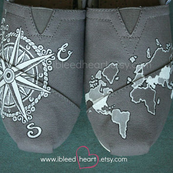Custom Painted TOMS Shoes - Wanderlust Adventure Travel Compass and World Map in Gray and White - Adult