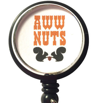 Aww Nuts, Retractable Badge Holder, Id Badge Reel, ID Badge Holders, Squirrel ID Lanyard, Nature, Nuts, Funny