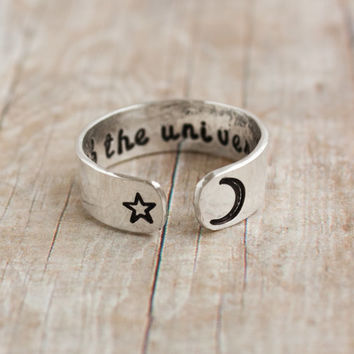 Sterling silver. Child of the universe secret message ring,customizable cuff ring,crescent moon, sterling silver ring, moon star ring