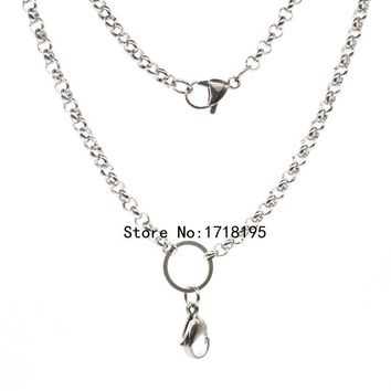 Free shipping 24 inches 4.0mm width silver Stainless steel rolo chain floating locket chains necklace chain LFH_050