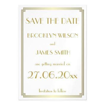 Magnetic Art Deco White Wedding Save The Date Magnetic Invitations