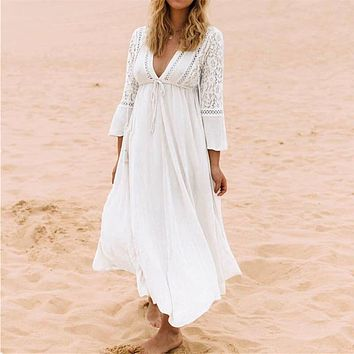 NODELAY Women Lace Crochet Bikini Cover Up Long Beachwear Pareo Beach Tunic Dress White Sexy Robe Cotton Bathing Suit Kaftan