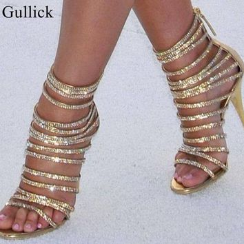 Gold Bling Bling Crystal Sandals High Heels Strappy Gladiator Sandal Shoes Women Stiletto Heel Wedding Rhinestone Cage Sandal