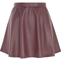 River Island Womens Dark purple coated skater skirt
