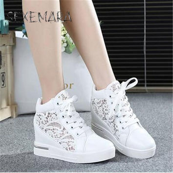 2016 Summer Hidden Wedge Heels Shoes Fashion  Elevator Shoes Casual Shoes For  wedge heel Rhinestone Shoes