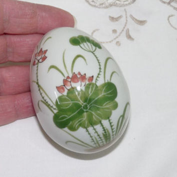 Egg Shaped Trinket Dish with Lid, Oriental Flowers Design, Ring Dish, Keepsafe Dish, Bedroom, Bathroom, Ceramic, Ornament, Housewares