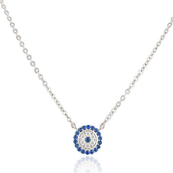 Sterling Silver Cz Small Evil Eye Necklace
