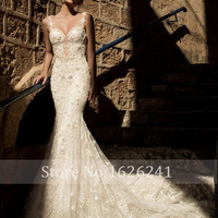 New Romantic Beading Lace Mermaid Wedding Dresses Spaghetti Straps Sweetheart Vestidos Sexy Backless Bride Gowns Plus Size