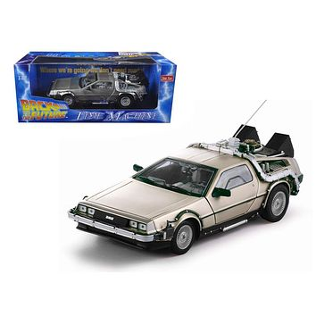 """Delorean Time Machine From Movie \Back To The Future I\"""" 1/18 Diecast Model Car by Sunstar"""""""