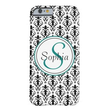 Monogrammed Damask black-white Barely There iPhone 6 Case