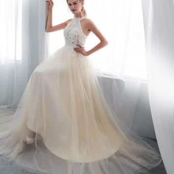 Luxury Wedding Dresses Champagne High Neck Lace Applique Beads Transparent A-line Sweep Train Bridal Gowns