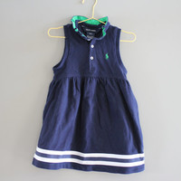 Classic RALPH LAUREN navy blue sleeveless cotton polo dress fits 2 to 3 years old