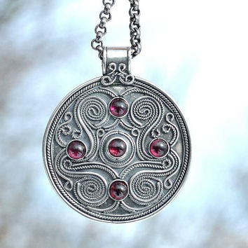 Celtic Silver Pendant Battersea England Garnet Museum Copy British Shield Reenactment Historical Jewel Brythonic Britons