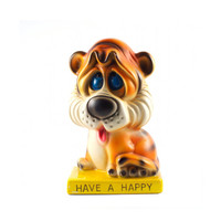 Vintage Droopy Eyed Tiger Piggy Bank Kitsch Mod Have a Happy / 60s 70s