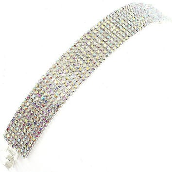 "7"" ab crystal bracelet bangle .70"" height 9 rows bridal prom pageant"