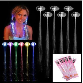 ONETOW Rave Halloween Decoration 6 Pcs Light-up Fiber Led Hair Color wig Lights Rave for halloween christmas Party led Accessories
