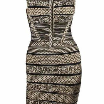 Beige Multi Wood-grain Bandage Mini Dress