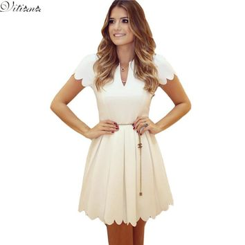 Fashion Summer Style Women Elegant Slim Body con Dress White Red Cute Sexy Pleated Party Dresses