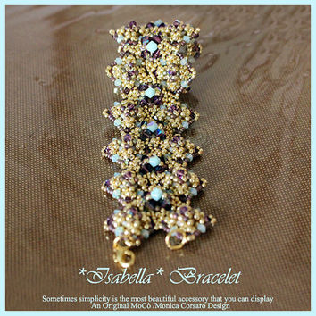 DIY Photo Tutorial Eng-ITA ,*Isabella* bracelet ,PDF Pattern 63 with quadratile, swarovski ,seed beads,