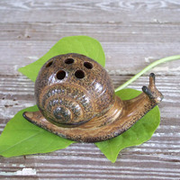 1960s vintage ceramic snail incense burner by KatyBitsandPieces