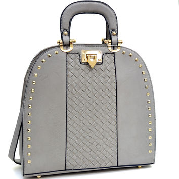 Pyramid Studded Satchel Bag