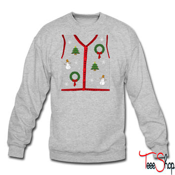Funny Ugly Sweater Vest Design crewneck sweatshirt