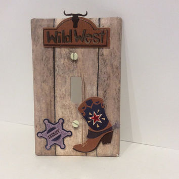 Western Light Switch Cover, Cowboy Light switch plate, Western Cowboy Nursery Decor