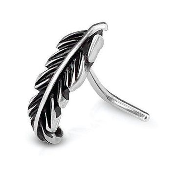 BodyJ4You Nose Ring Stud L-Shaped Tribal Leaf Stainless Steel 20G Body Piercing Jewelry