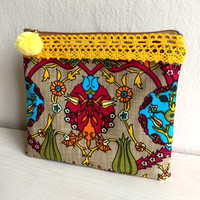 Ethnic Zippered Pouch,Floral Make up bag,Linen Zippered Pouch,Fabric Clutch,Boho Clutch bag,Ethnic zipper pouch,pink zipper pouch,coin purse