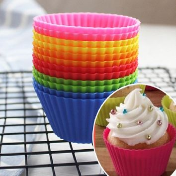 Silicon Cake Baking Moulds 7CM 12pcs 6 Colors Cupcake Liners Mold Muffin Round Bakeware Baking Pastry Tools