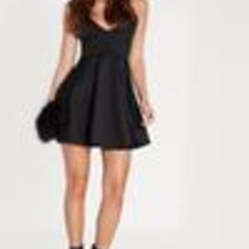 Missguided - Strappy Skater Dress Black