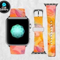 Fall Leaves Pattern Autumn Colors Leave Cute Custom Apple Watch Band Leather Strap iWatch for 42mm and 38mm Size Metal Clasp Watch Print