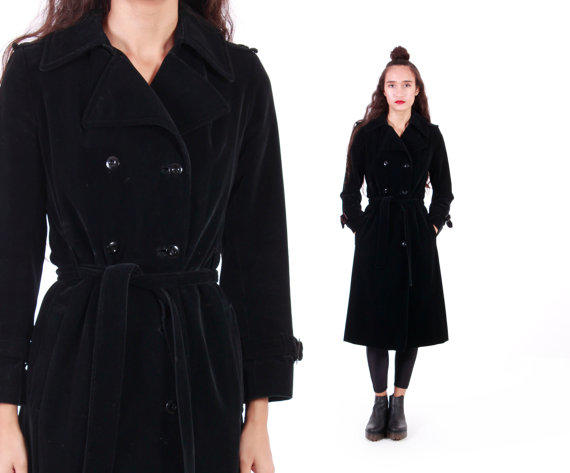competitive price release info on find lowest price I. Magnin Velvet Trench Coat Black Belted Witchy Minimalist Goth 80s 90s  Vintage Outerwear Womens Size Small