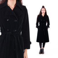 I. Magnin Velvet Trench Coat Black Belted Witchy Minimalist Goth 80s 90s Vintage Outerwear Womens Size Small